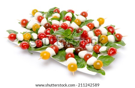 Plate of cherry tomatoes and mozzarella on skewers, isolated on white