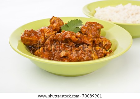 plate of chicken curry with rice close-up - stock photo