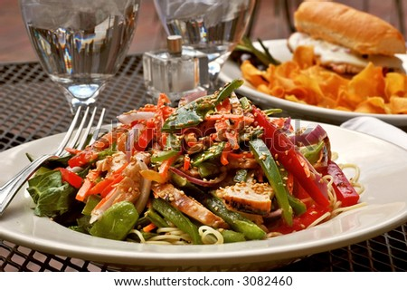 Plate of Chinese chicken salad served at an outdoor cafe - stock photo