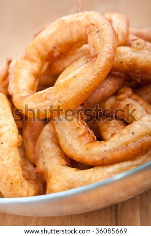 plate of crispy onion rings