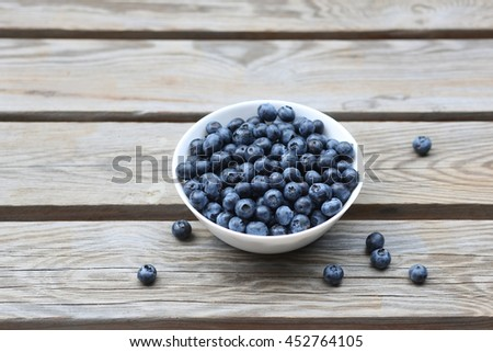 Plate of delicious fresh blueberry