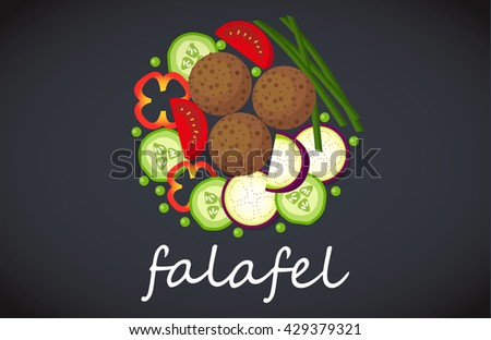 Plate of falafel. Top view. - stock photo
