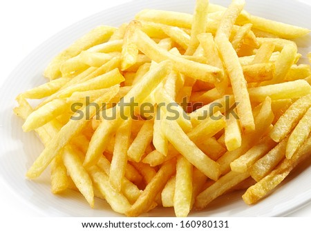 plate of french fries potatoes - stock photo