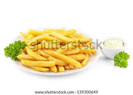 Plate of French fries with a bowl of mayonnaise on white - stock photo