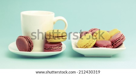 Plate of French Macaroons on retro-vintage background