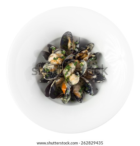 Plate of fresh mussels isolated on white background. Clipping path - stock photo