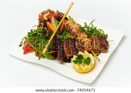plate of fresh salad for diet - stock photo