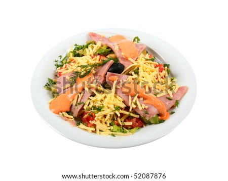 Plate of fresh salad isolated on white background