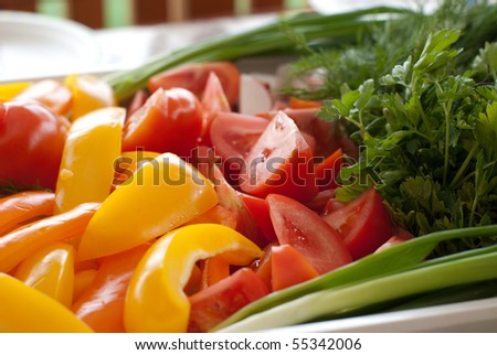 Plate of freshly cut multi-colored vegetables - stock photo