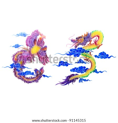 plate of glass dragon and swan on wall in chinese temple