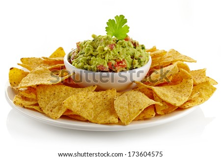 Plate of guacamole dip and nachos isolated on white background
