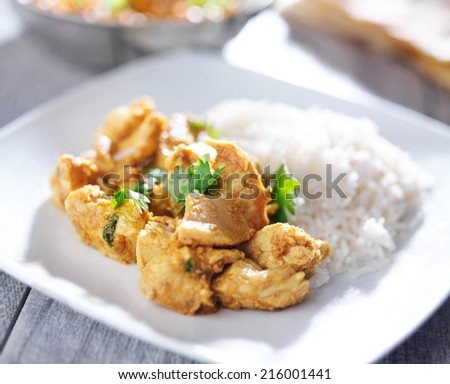 plate of indian butter chicken curry with basmati rice - stock photo