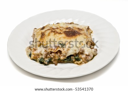 Plate of lasagna on a white background.