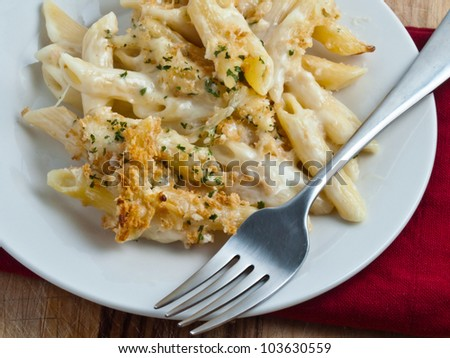 Plate of macaroni and cheese - stock photo