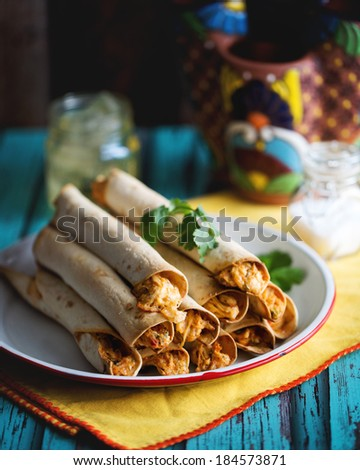 Plate of Mexican Food Taquitos with Bright Colors - stock photo