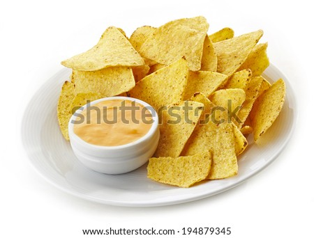 plate of Nachos and dip curry sauce - stock photo