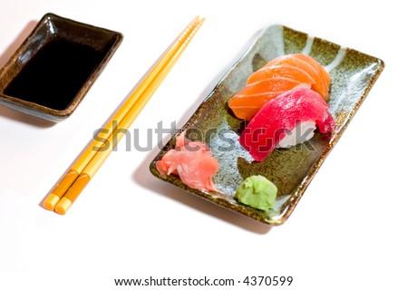 Plate of nigiri sushi - stock photo
