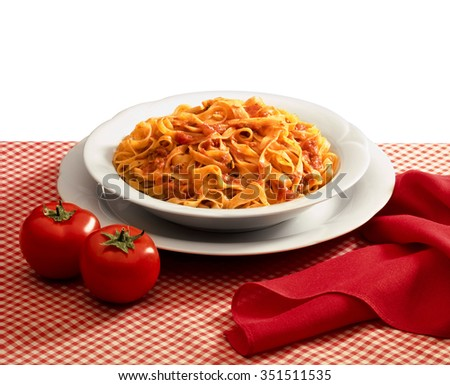 plate of pasta and tomato sauce - stock photo