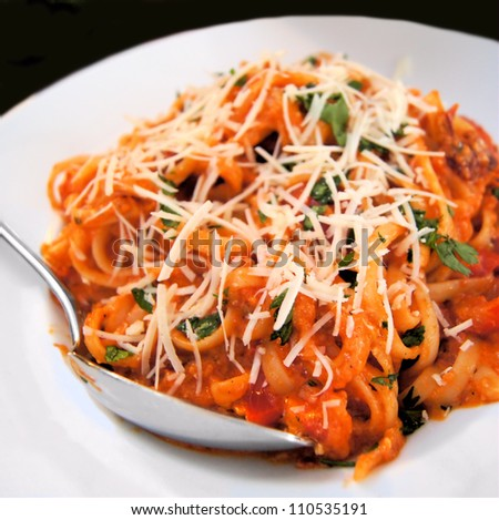 Plate of pasta with tomato sauce, shredded cheese and herbs
