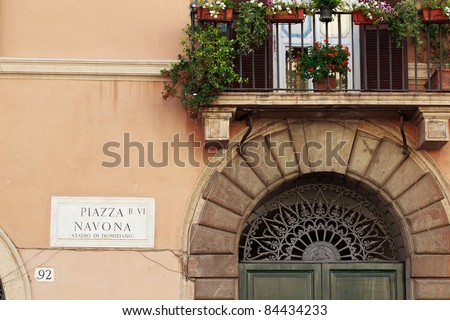 Plate of piazza navona, at a wall, the famous square in Rome, capital of italy - stock photo