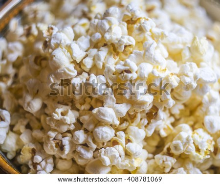 Plate of popcorn close up