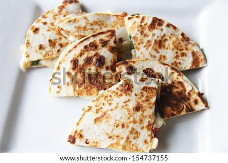 Plate of quesadillas - stock photo