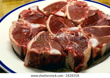 Plate of raw lamb chops ready for cooking