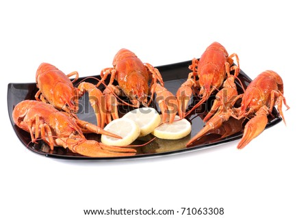Plate of red boiled lobsters with lemon. Luxury diet meal