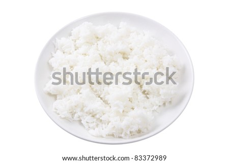 Plate of Rice on White Background - stock photo