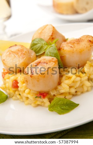 Plate of Scallops Risotto garnished with fresh basil, glass of white wine and bread. - stock photo