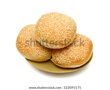 plate of sesame bun on white background