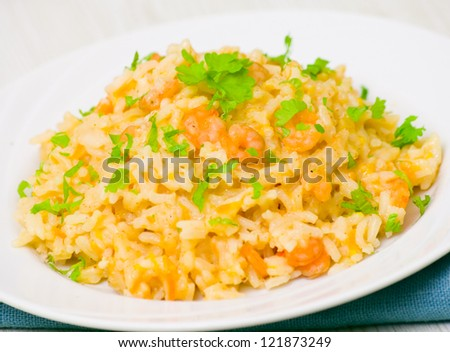 Plate of Shrimps Risotto - stock photo
