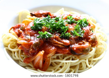 Plate of spaghetti with tomato sauce. - stock photo