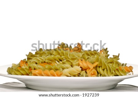 plate of spiral pasta