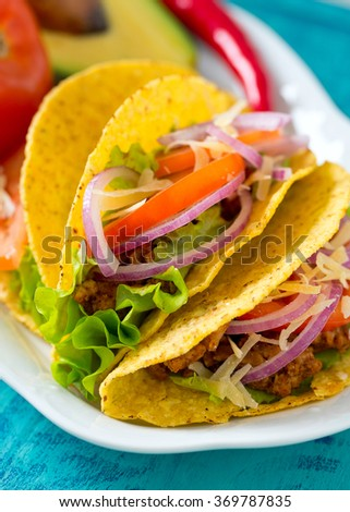 plate of tacos - stock photo