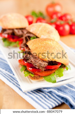 Plate of Three Small Slider Sandwiches with Pulled Beef and Red Bell Peppers - stock photo