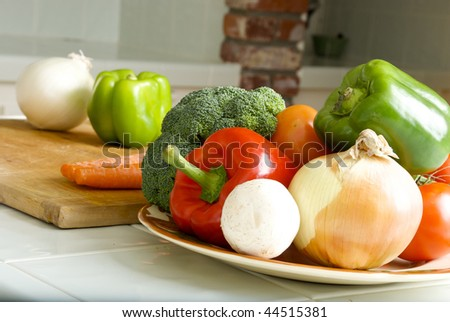 Plate of various Vegetables on Kitchen Counter