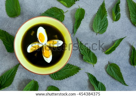plate of vegetarian, healthy nettle soup