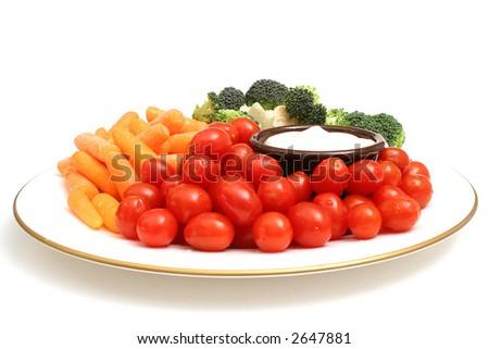 plate of veggies on white - stock photo