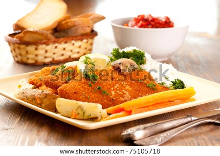 Plate of Wiener Schnitzels - stock photo