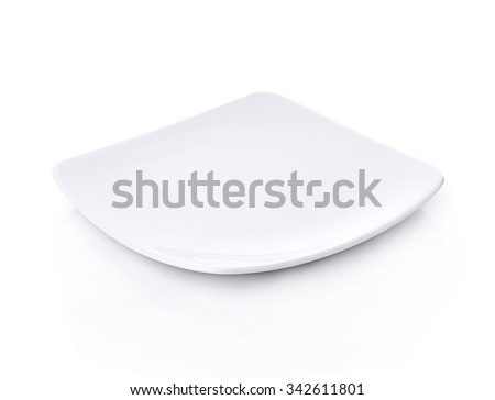 Plate square empty on white background - stock photo