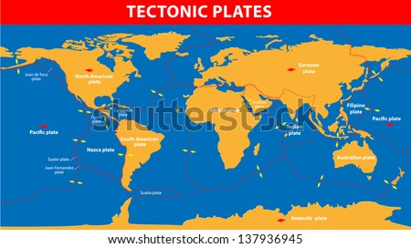 Plate tectonics.  Earth's lithosphere, scientific theory. Continental drift - stock photo