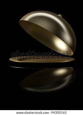 Plate with bell in gold on black