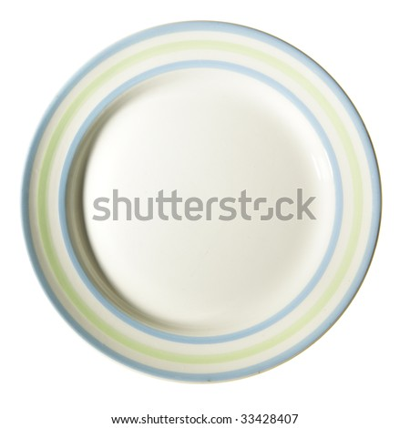 Plate with border isolated over white background - stock photo