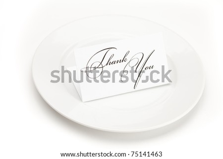 plate with card signed thank you isolated on white - stock photo