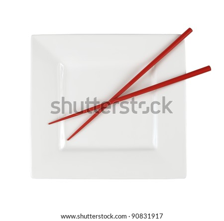 plate with chopsticks - stock photo