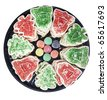 Plate with Christmas cookies and Candy - stock photo