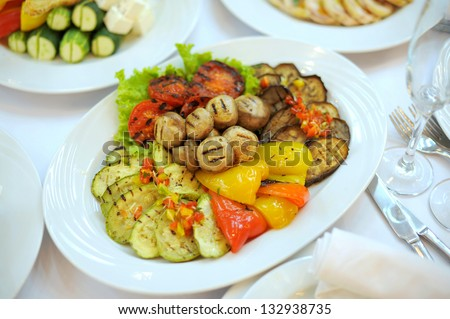 plate with colorful grill vegetables