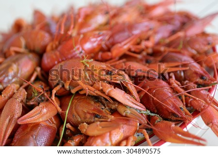 Plate with cooked crayfish in the restaurant - stock photo