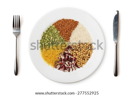 Plate with different cereals and garnish isolated on white background. - stock photo